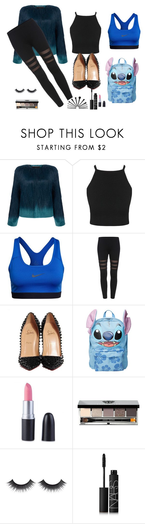 """Blue day"" by queenalisa on Polyvore featuring Unreal Fur, NIKE, Christian Louboutin, Disney, Bobbi Brown Cosmetics and NARS Cosmetics"