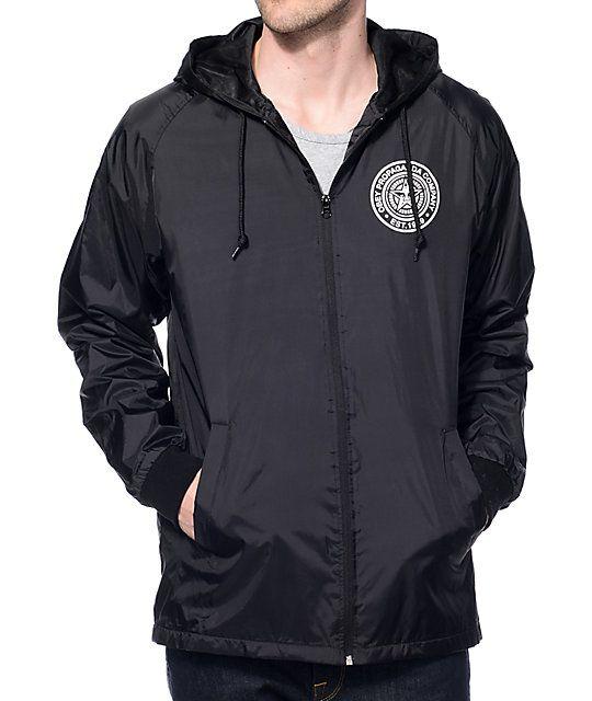 Obey Propaganda Black Hooded Coach Jacket Mens Fashion
