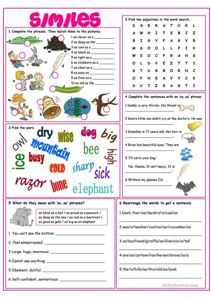 Similes Vocabulary Exercises | Inglés | Pinterest