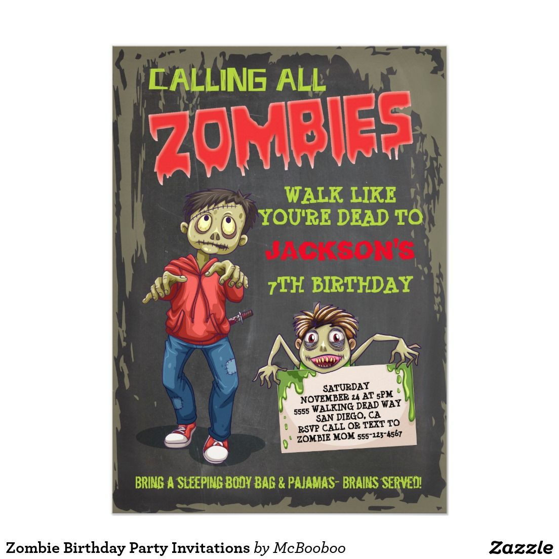 Zombie birthday party invitations zombie birthday parties party zombie birthday party invitations great for a sleepover or halloween party more stopboris Images