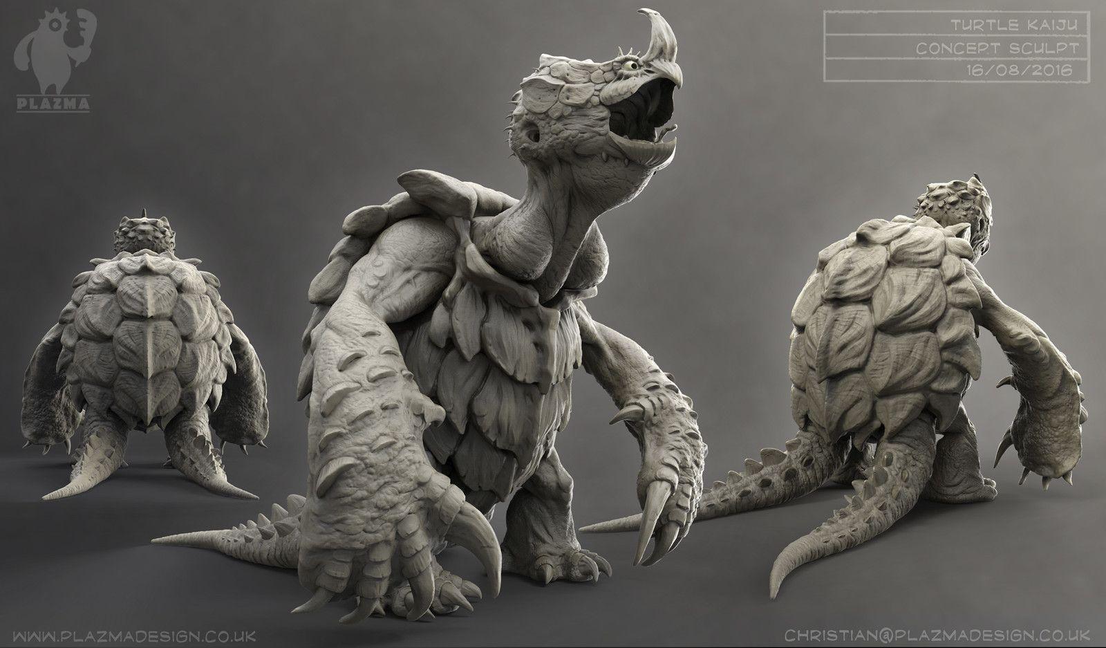 "Turtle Kaiju ""two tails"", Christian Johnson on ArtStation at…"