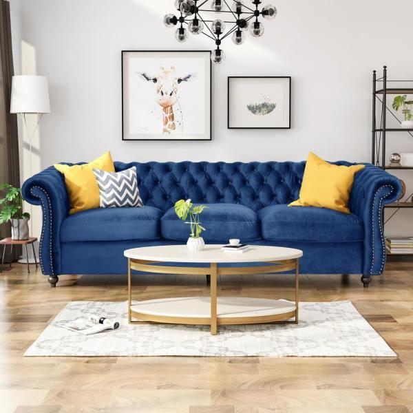 Noble House Somerville Chesterfield Navy Blue And Dark Brown Sofa 65582 The Home Depot Velvet Sofa Living Room Blue Sofa Living Blue Couch Living Room
