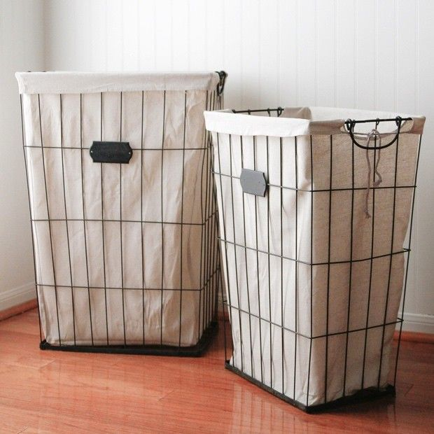 Metal And Cloth Laundry Basket Set Of 2 Metal Laundry Basket