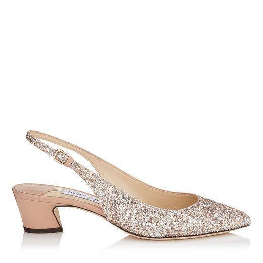 61415685f034 JIMMY CHOO GEMMA 40 Ballet Pink Shadow Coarse Glitter Fabric and Nappa  Leather Slingback Pumps.  jimmychoo  shoes
