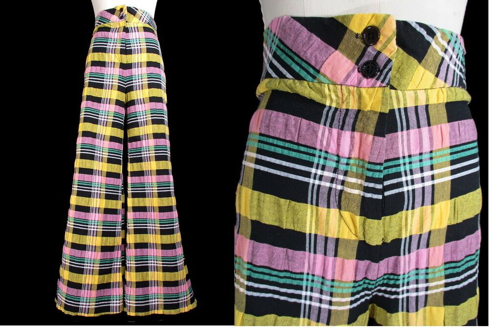 b75c25400c Vintage 1970 s BELL BOTTOMS Seersucker Tomboy California 70 s S M Black  Pink  TomboyCalifornia  Casual
