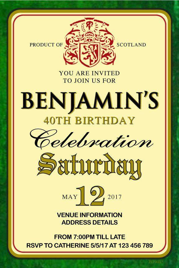 60th Birthday Invitations Buchanan\'s Scotch Whisky   Personalised ...
