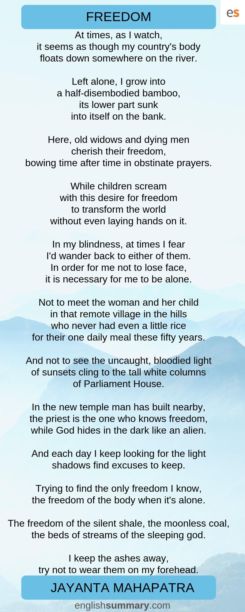 Freedom By Jayanta Mahapatra Poetry Left Alone Theme Of The Good Morrow John Donne