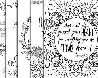 23 Pack Bible Verse Coloring Pages Inspirational Quote DIY Adult Party Floral Patterns Relaxation Christian Art Family Activities