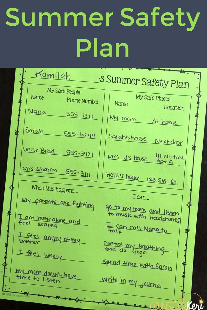 Safety Plan Template for Students Beautiful Making Summer