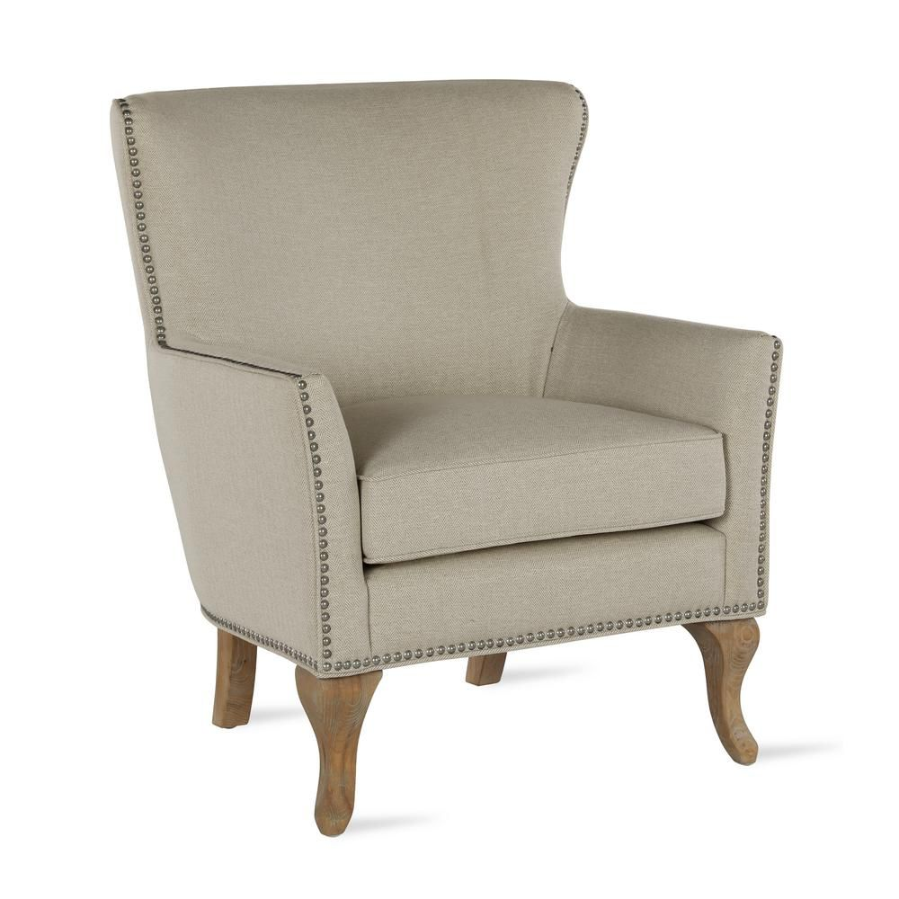 Best Dorel Living Dotty Solid Beige Upholstered Accent Chair 400 x 300