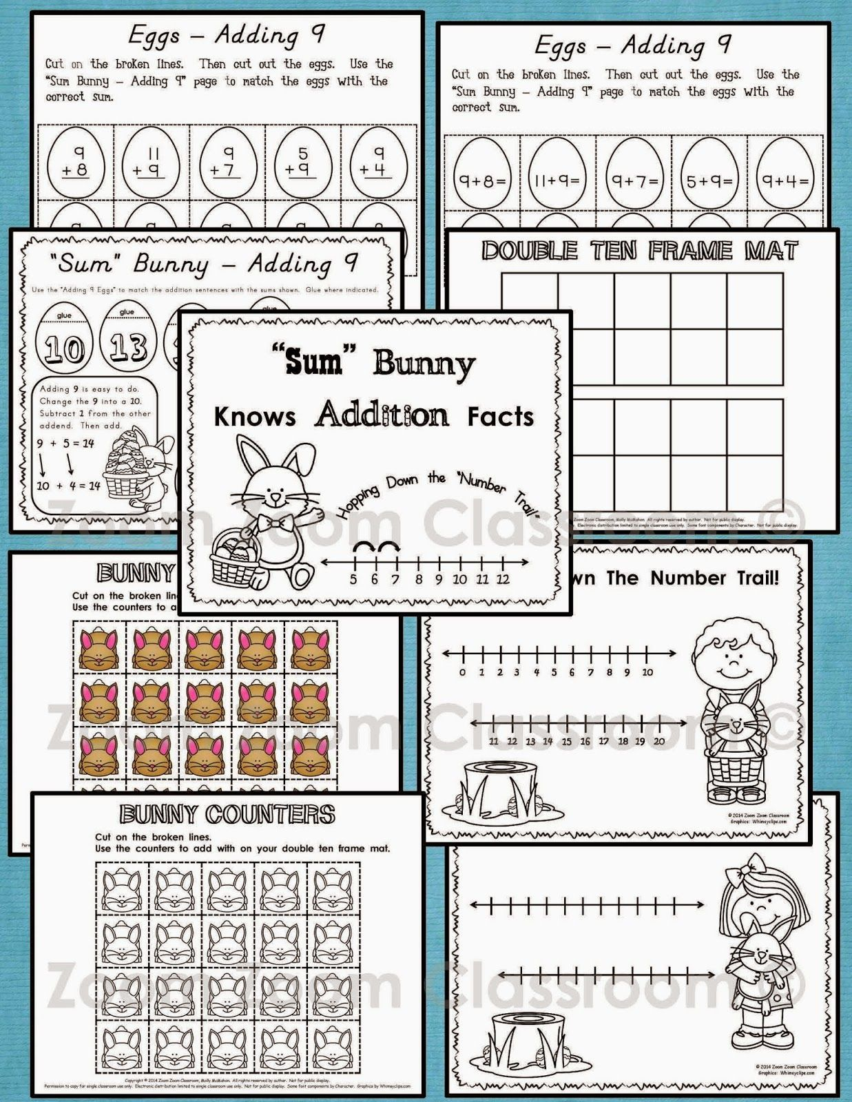 Sum Bunny Knows Addition Facts Number Lines Ten Frames And Counters Add With Zero One