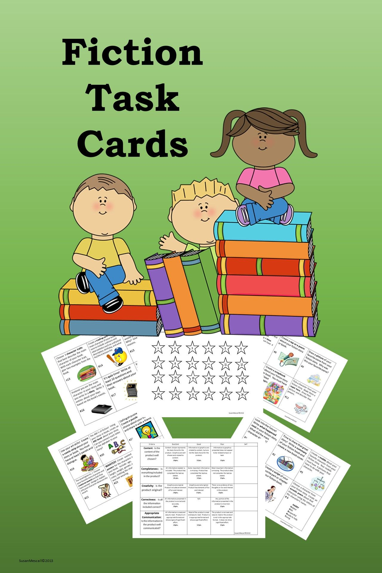 Fiction Task Card Assessment Activities Distance Learning