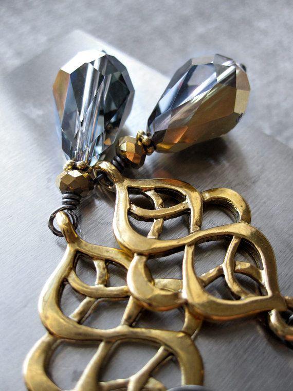 Gold Bollywood Chandelier Earrings India Scroll By Shysiren