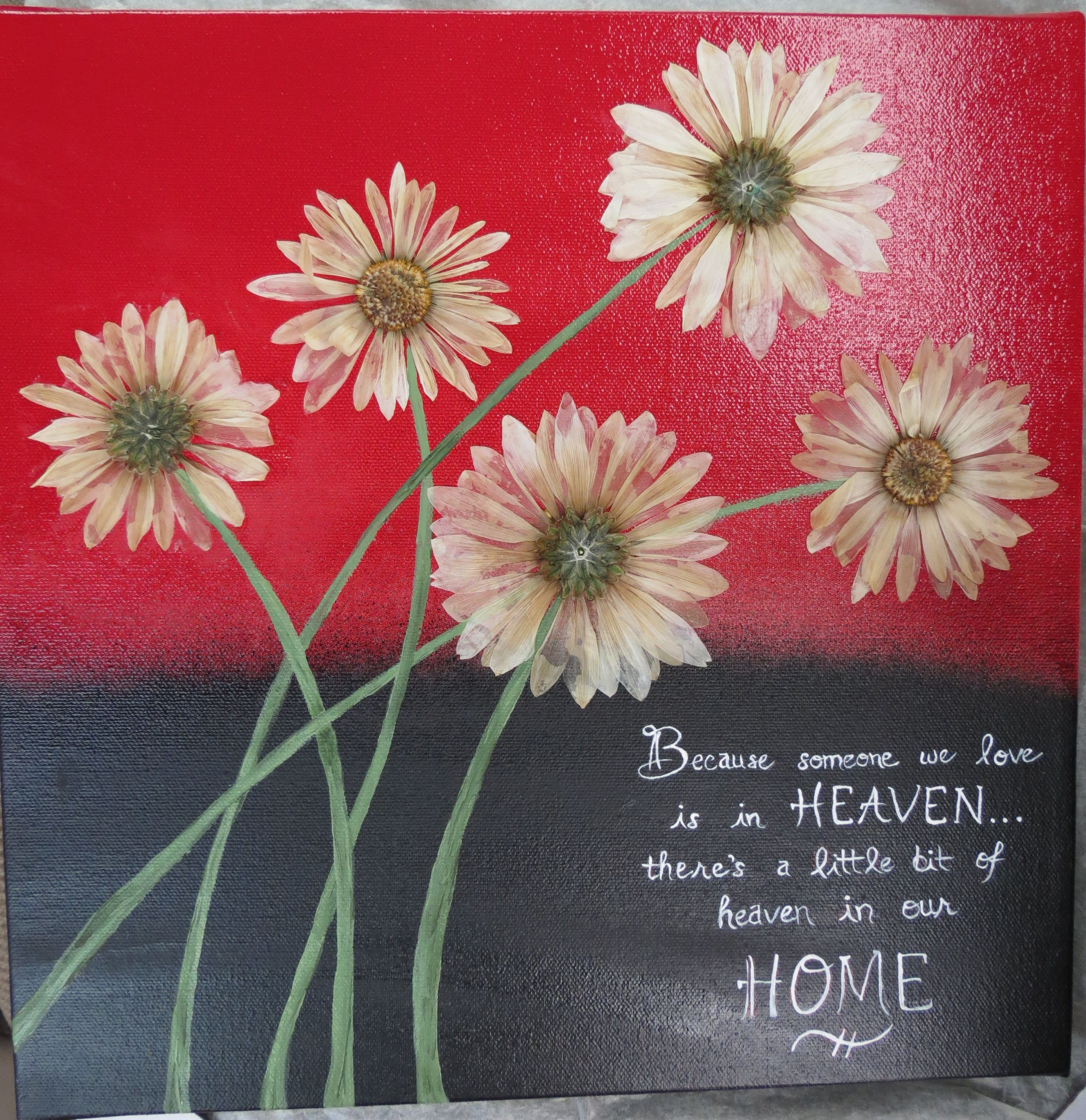 Pressed flowers from a friends funeral added to a painted canvas pressed flowers from a friends funeral added to a painted canvas make for a great way to preserve your memories izmirmasajfo