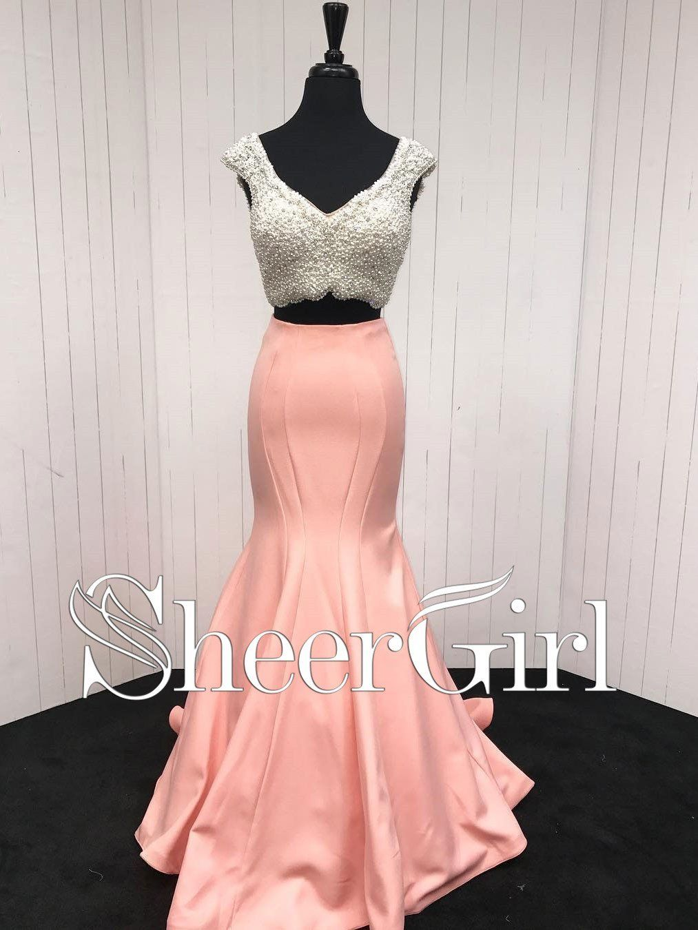 piece mermaid prom dresses for women plus size coral formal