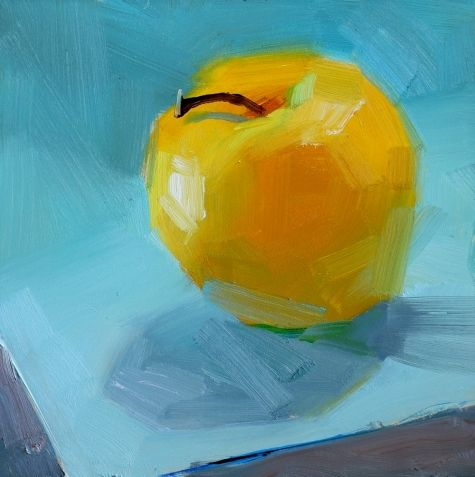 Gold Apple on Blue, painting by artist Qiang Huang
