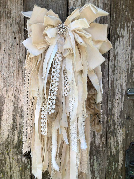 Shabby Chic Rag Bow Tutorial, rag bow tutorial, rag bow how to, shabby chic decor, no sew rag...