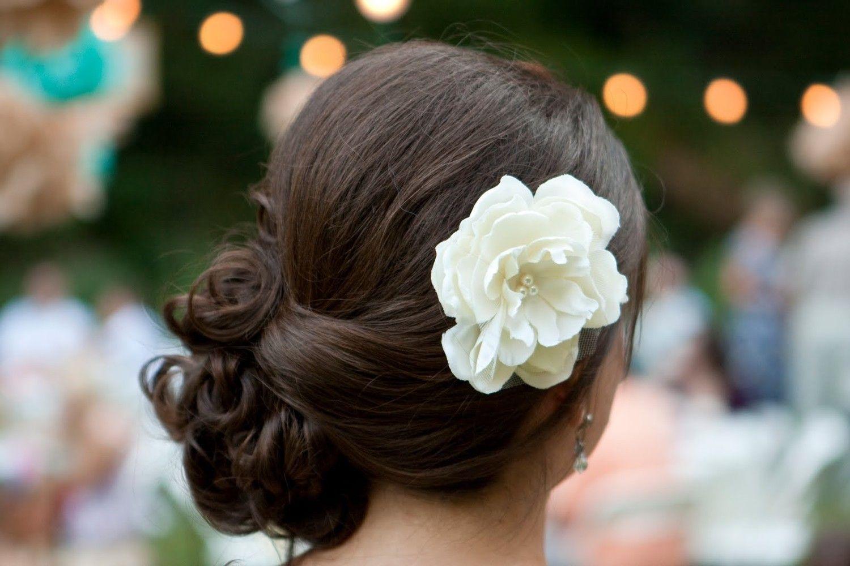 A Little Grace Bridal Ivory Peony Hair Flower- Wedding- Gift- Bridesmaid. $23.00, via Etsy.
