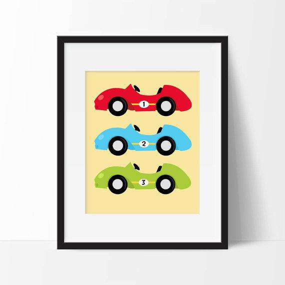 Race Cars Nursery Art, Printable Race Car Nursery Decor, Boy Race ...