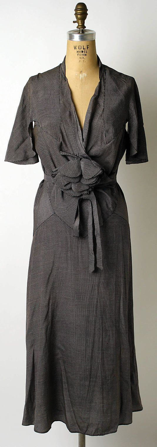 Afternoon dress Mainbocher  (American, 1890–1976) Date: 1932 Culture: French Medium: silk