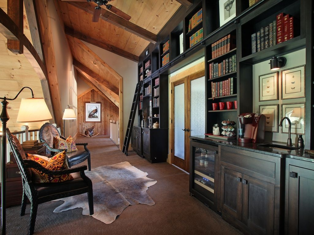 Craftsman Library With Built In Bookshelf French Doors Exposed Beam Carpet High Ceiling