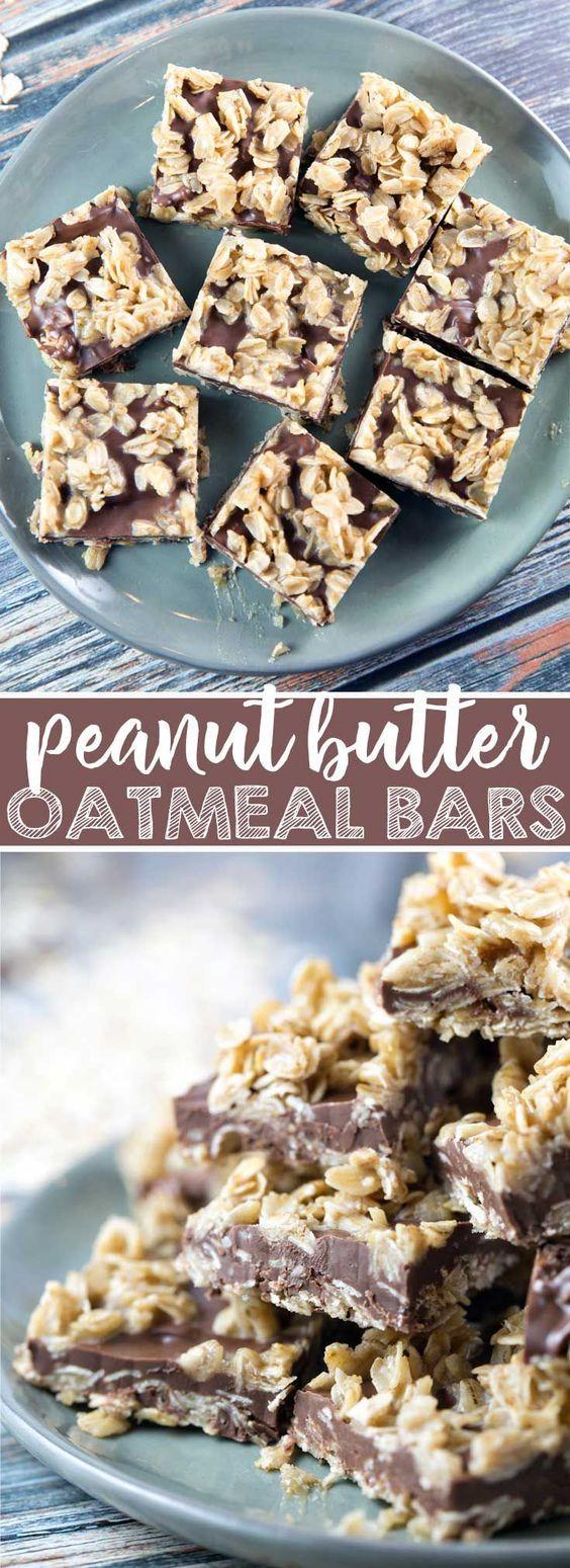 No Bake Peanut Butter Oatmeal Bars: easy to make and no ...