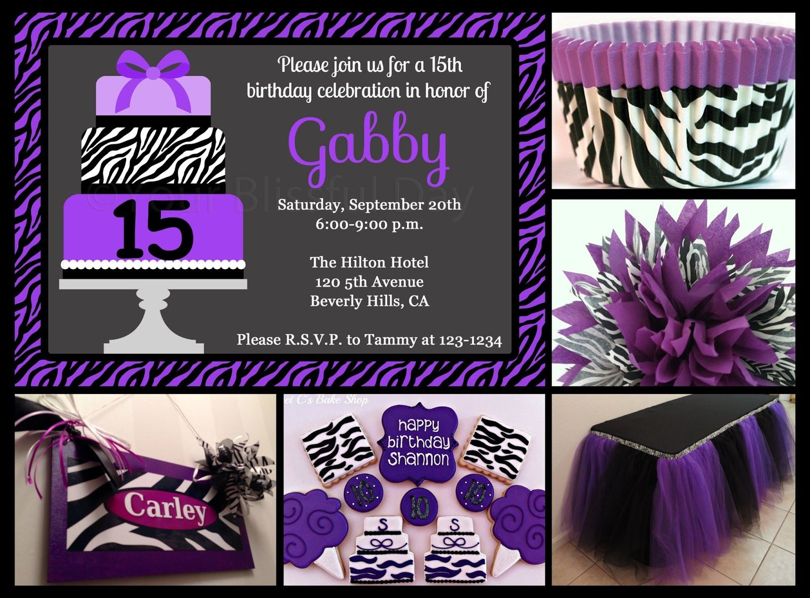 Purple Zebra Print Party Ideas Your Blissful Day Party ideas
