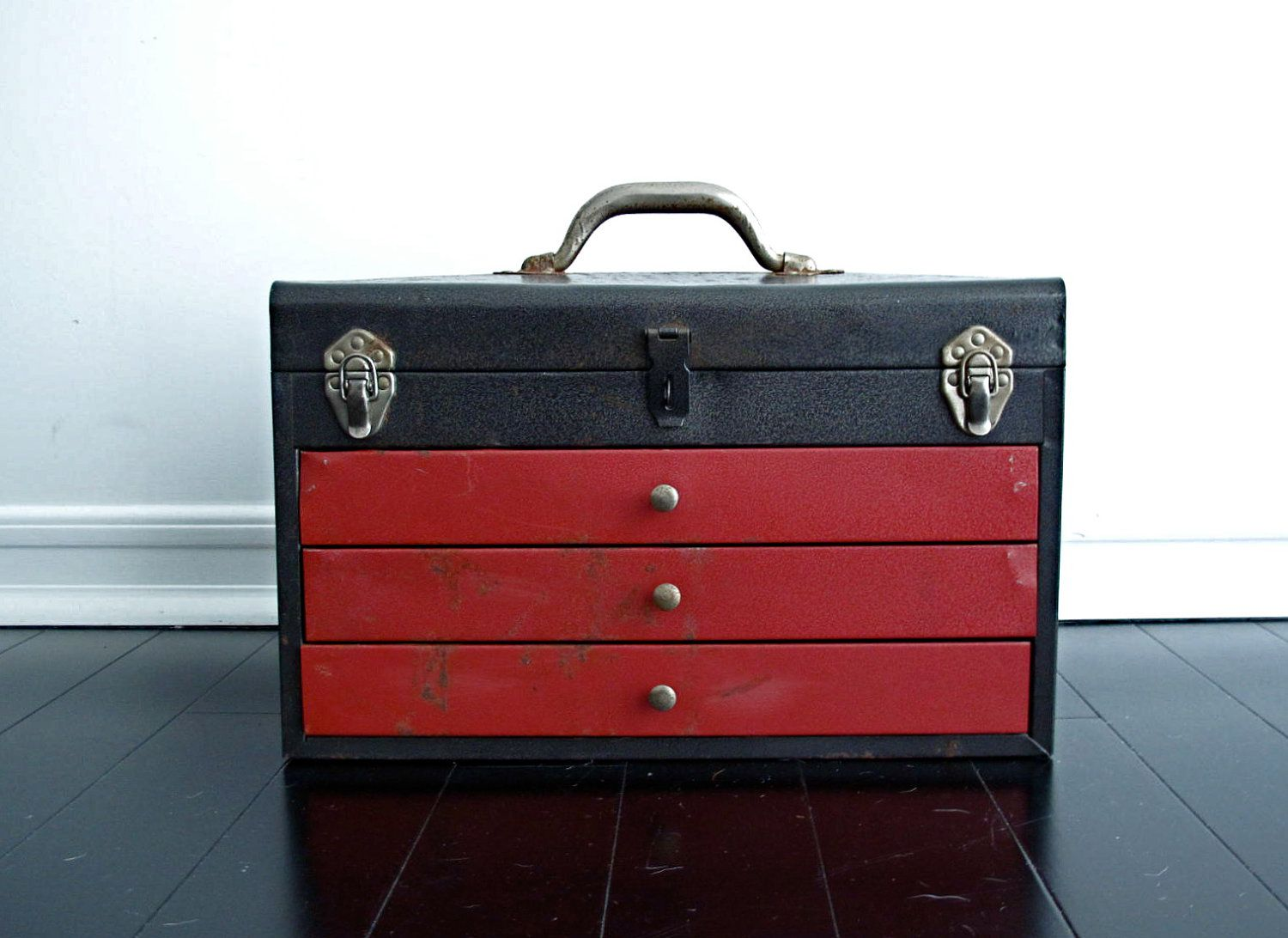Tin bread box drawer insert - Vintage Metal Toolbox Red Tool Box With Drawers And Handle 60 00 Via Etsy