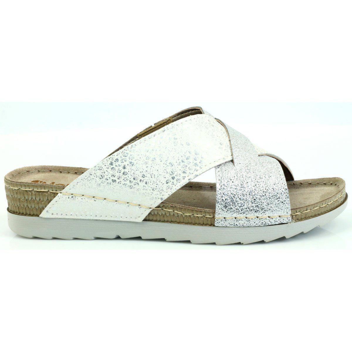 Klapki Komfort Inblu 010 Teg H Biale Szare Slip On Sandal Footwear Shoes