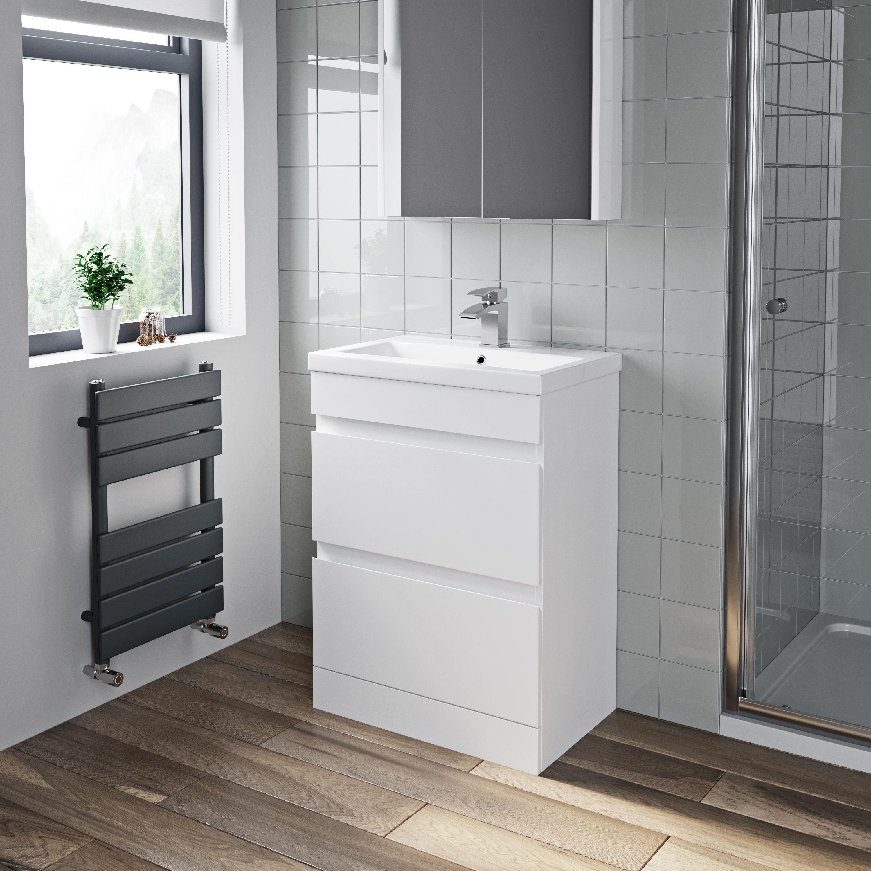Artis White Gloss Floor Standing Drawer Vanity Unit 600mm Modern Bathroom Vanity White Vanity Bathroom Custom Bathroom Cabinets