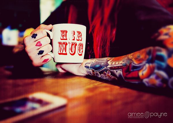 girlie mug  tattoo ink teatime hope and glory