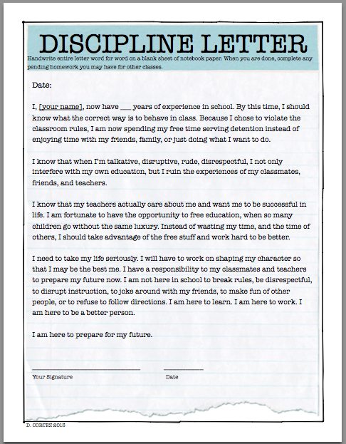 Oh My Science Teacher Detention Letter For Students To Copy