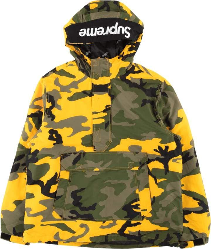 Supreme Hooded Logo Half Zip Pullover -  FW 17  - Yellow Camo 2a6404aca