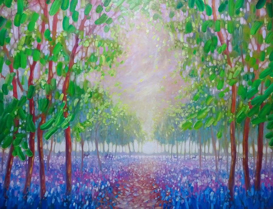 Bluebell Fields Original Oil Painting Gill Bustamante Jpg 900 688 Oil Painting Landscape Art Gallery Uk Oil Painting Supplies