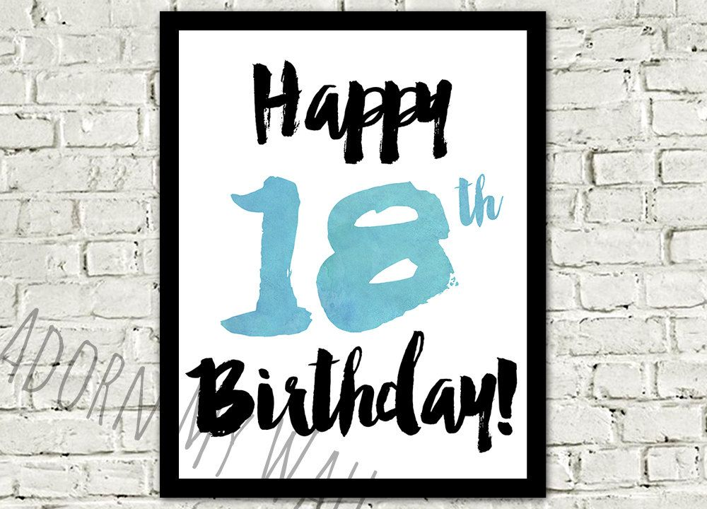 Happy 18th Birthday Print Printable Instant Download Poster Teenager 18 By AdornMyWall