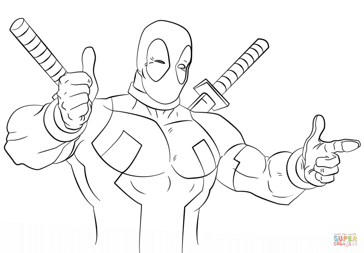 Cartoon <b>Deadpool</b> <b>coloring</b> page | Free… | jims | Pinterest