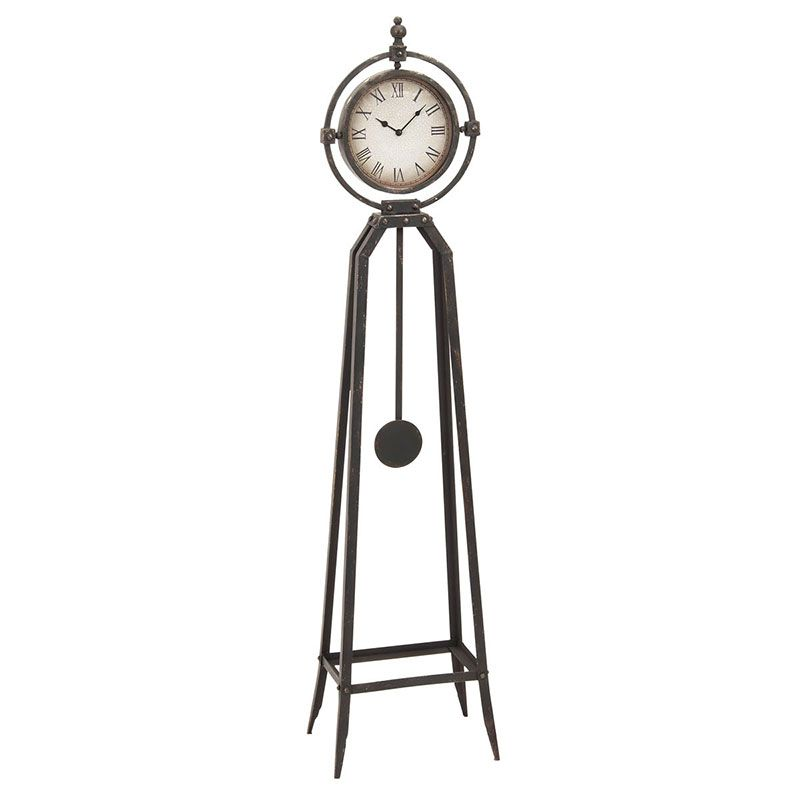 Metal Decoratvie Standing Floor Clock This Standing Floor Clock Features A  Black Sculpted Metal Alloy Body With Decorative Finials Around The Frame Of  The ...