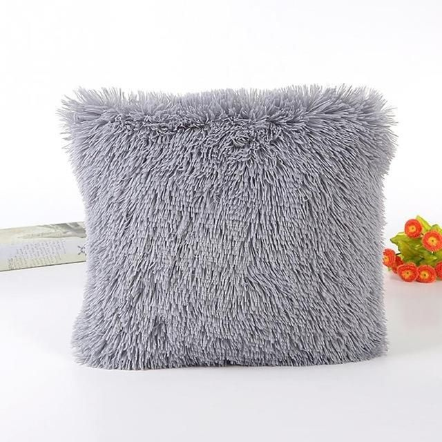 Soft Plush Shaggy Solid Color Throw Pillow Covers Cushion Case Best Shaggy Decorative Pillows