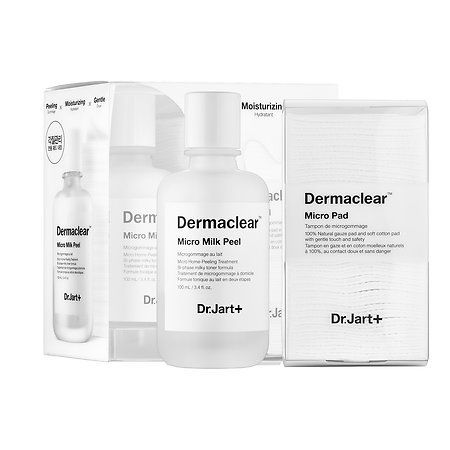 Dermaclear™ Micro Milk Peel - Dr. Jart+ | Sephora $42 | Shake a few drops onto a soft cotton pad (included), wipe over skin, wait one minute, rinse. Coconut milk and AHAs brighten tone and smooth texture.