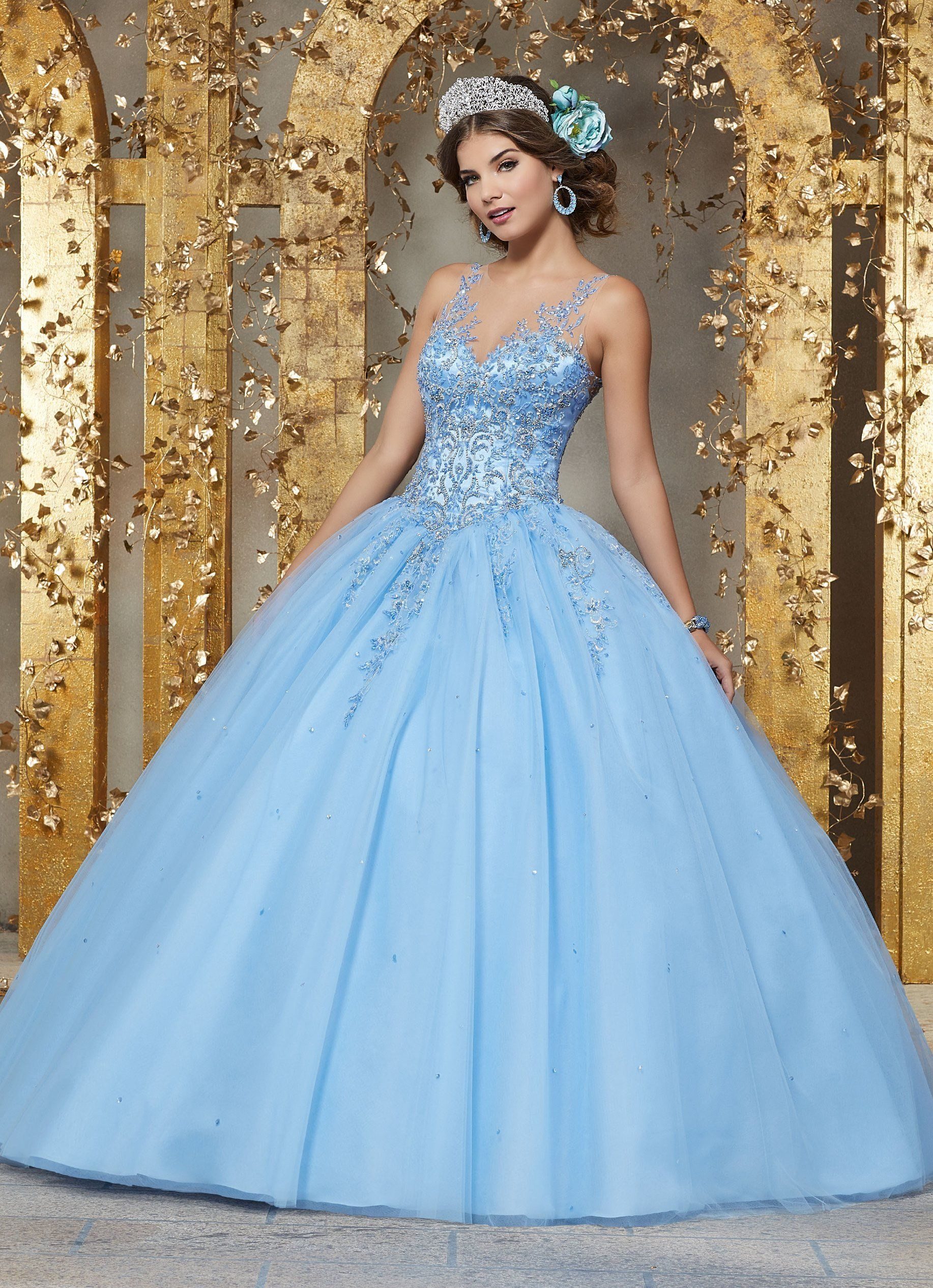 494c003c1c9 Embroidered Illusion Quinceanera Dress by Mori Lee Vizcaya 89223
