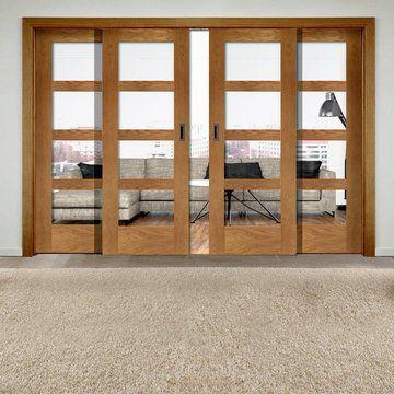Easi Slide Op1 Oak Shaker 4 Pane Sliding Door System In Four Size Widths With Clear Glass Deuren Interieur Interieur Woonkamer Schuifdeuren Schuur