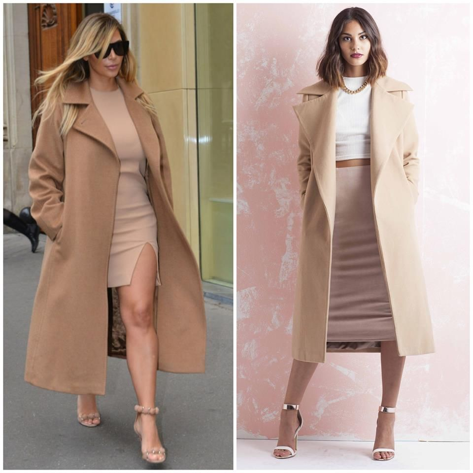 af45cd94ff7a Get the  KimKardashian look in the  Missguided Kimberley Camel Wool Coat