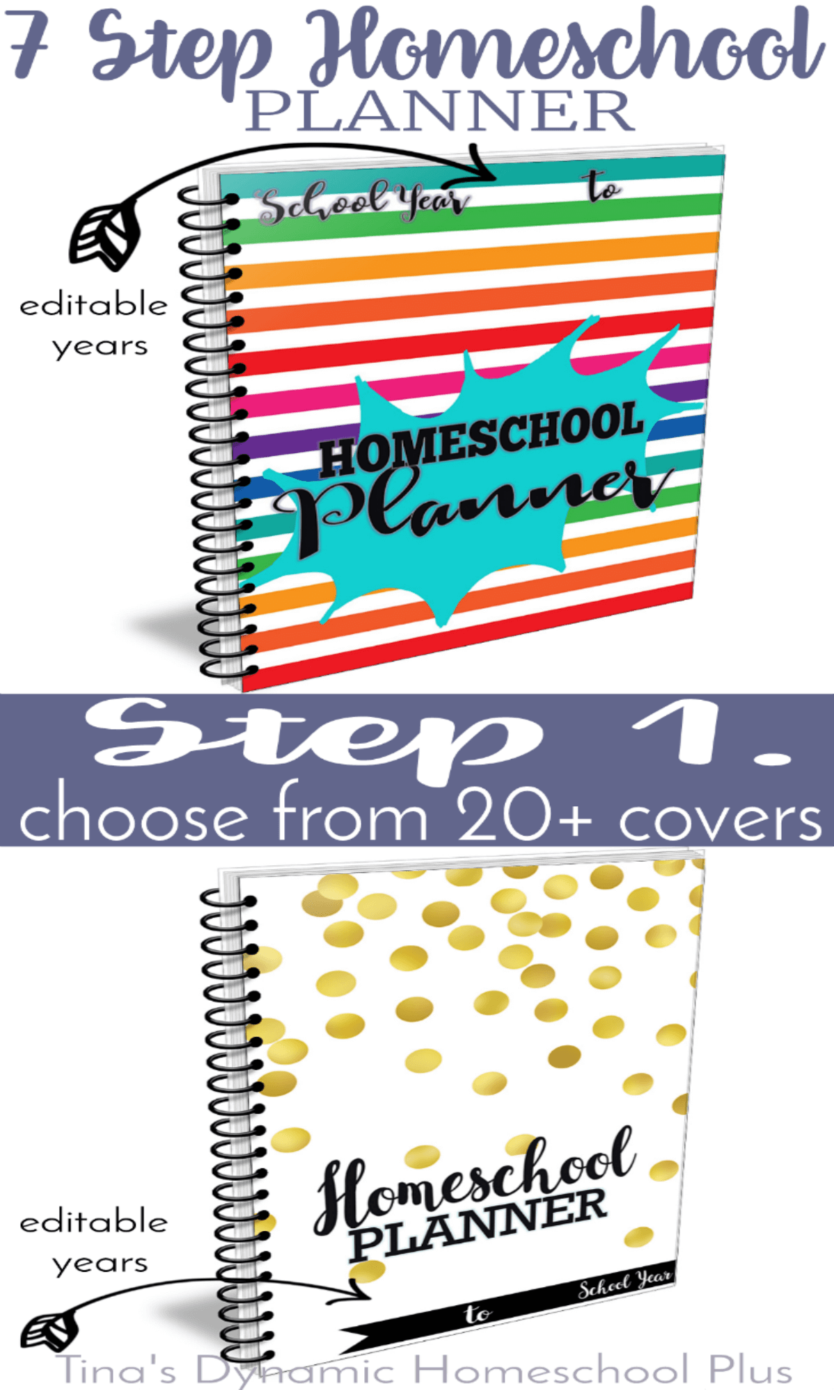 Two Unique Editable Homeschool Planner Covers Step 1