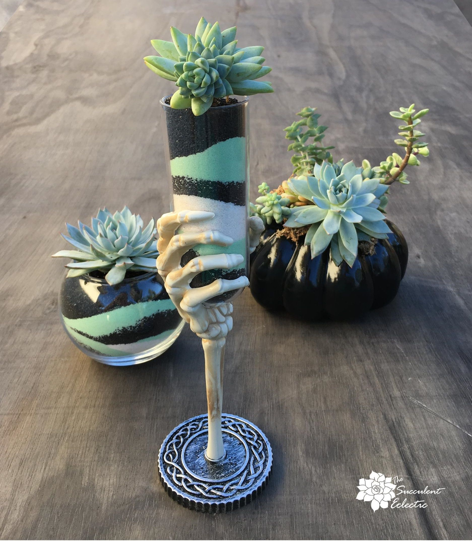 Succulent sand art skeletal hand chalice and spooky succulents succulents get a spooky twist with this skeleton hand chalice and sand art diy solutioingenieria Choice Image