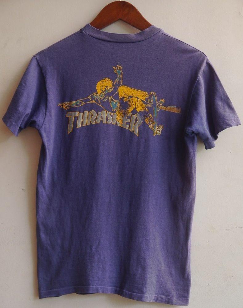 Vintage 90s Thrasher Skateboard Punk T Shirt  b348507b8