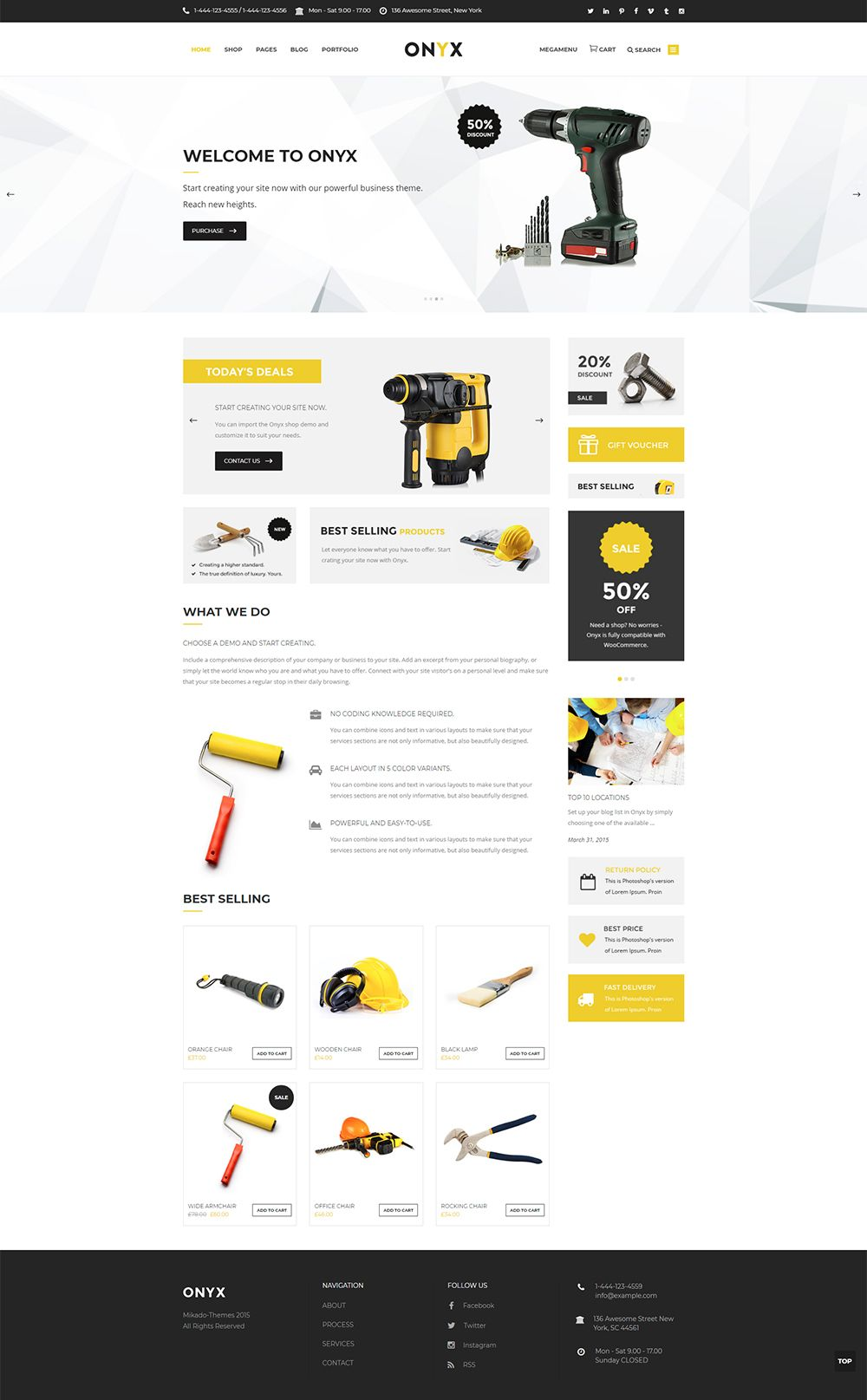 Choose from a variety of shop layouts that come with Onyx