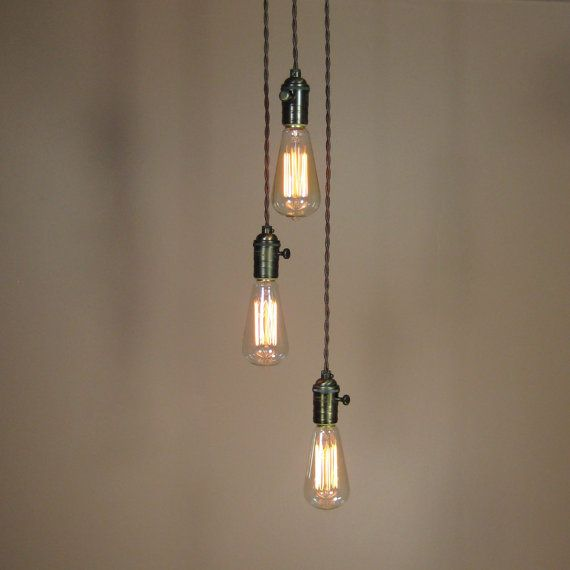 3 Light Cascading Chandelier Bare Bulb Pendant Lights Complete Set