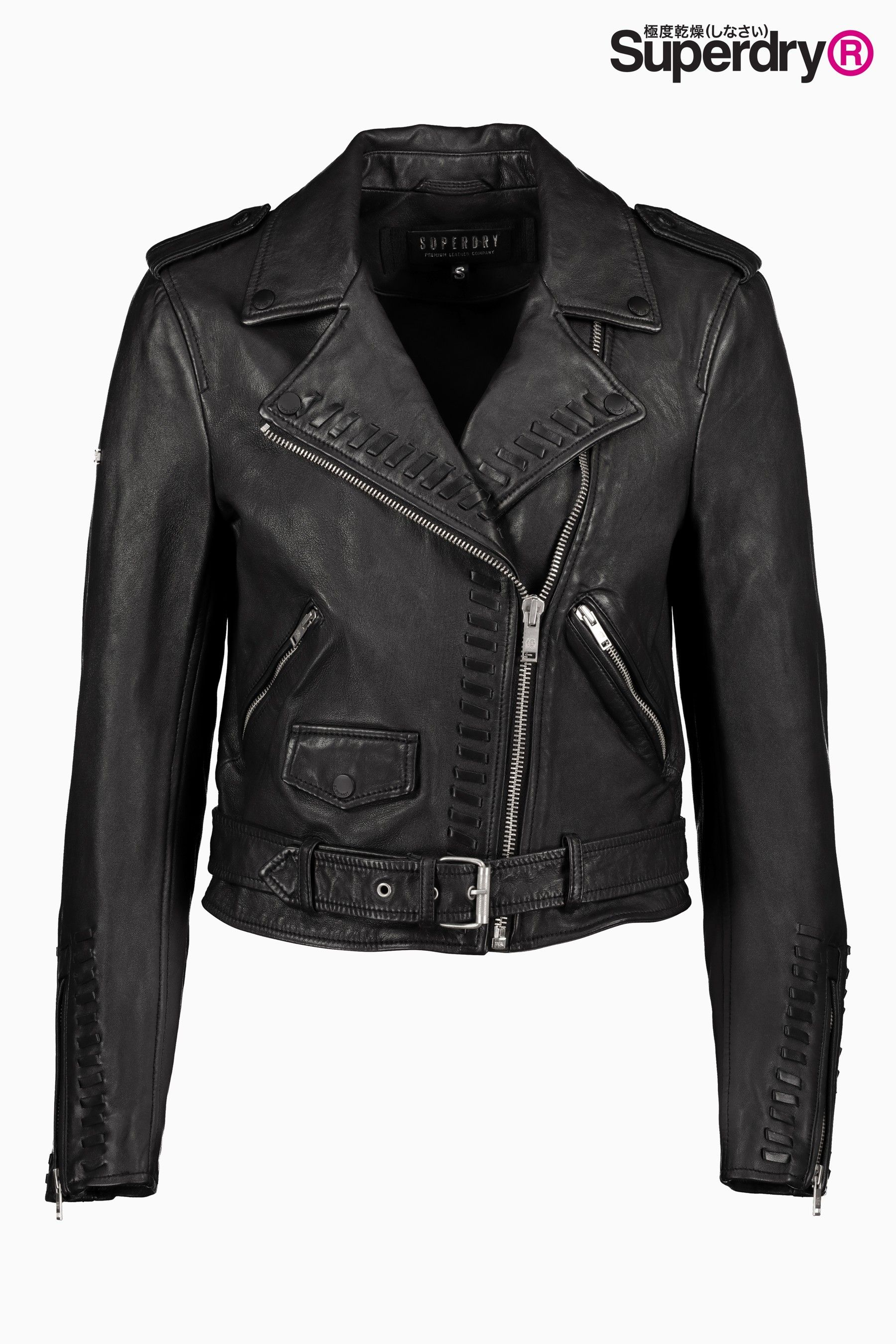 645f7376e6 Womens Superdry Kiki Leather Biker Jacket - Black | Products in 2019 ...