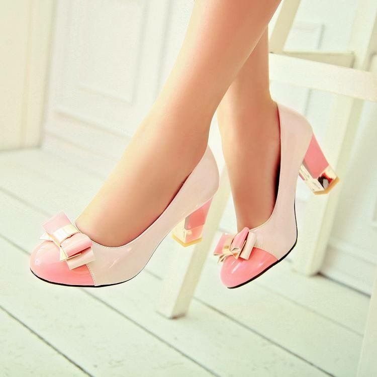 pink pumps with gold accents. pink pumps with gold accents Bow Shoes 788878b20abf