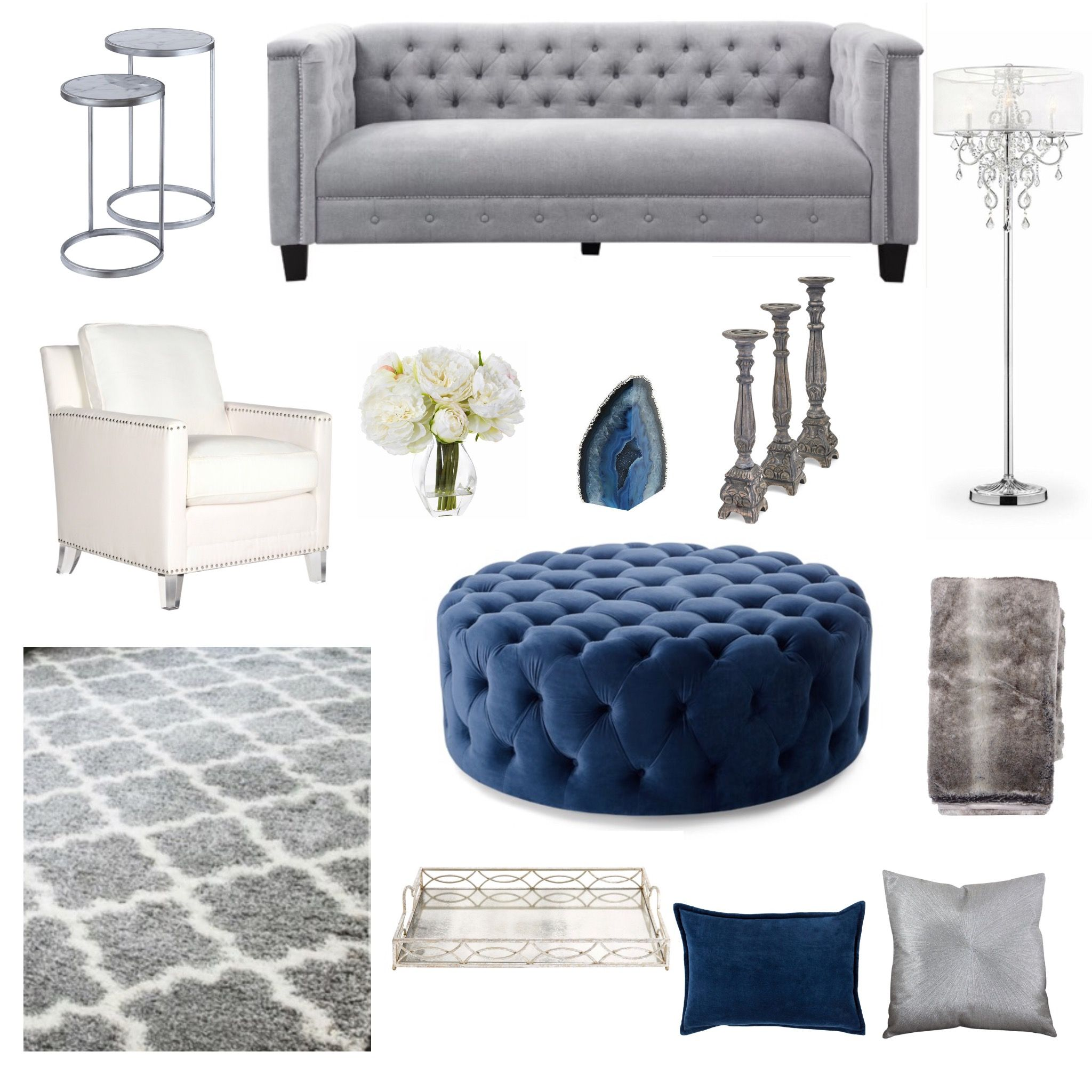 Best Glamours Living Room Navy Blue White Silver And Gray 400 x 300